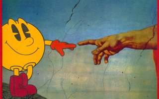 God reaching out to Pac Man